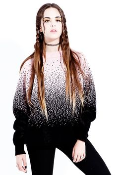 Image of FULL FADE Black & Pink Large Knitted Sweater!