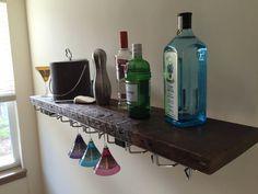 Reclaimed Wood Bar Shelf & Stemware Rack by PacificoReclaimed