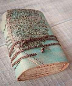 Turquoise Leather Journal Handbound Journal by DSBindery on Etsy