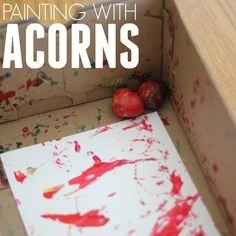 Easy Colorful Toddler Art: Painting with Acorns Toddler Art, Toddler Crafts, Toddler Activities, Crafts For Kids, Fall Crafts, Toddler School, Thanksgiving Crafts, Fall Preschool, Preschool Activities