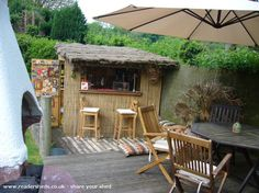 The Beach Bar, Pub/Entertainment from Shropshire owned by Nigel Hemmings Outdoor Kitchen Bars, Outdoor Bars, Outdoor Living Areas, Outdoor Rooms, Garden Bar Shed, Shed Of The Year, Pub Sheds, Outside Bars, Backyard Bar