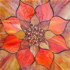 """Fiery Lotus"" stained glass mosaic by Kasia Polkowska - Cool Glass Art Designs Mosaic Crafts, Mosaic Projects, Stained Glass Projects, Stained Glass Patterns, Mosaic Patterns, Mosaic Designs, Mosaic Art, Mosaic Glass, Blown Glass Art"