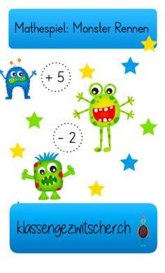 Mathespiel für den Wochenplan oder als zusätzliche Übung Zuhause.  #Mathematik #Kopfrechnen #Unterstufe #Wochenplan #klassengezwitscher Kids Reading, Homeschool, To My Daughter, Christian, Activities, Education, Monster, Sport, Corona