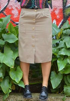 Retro Beige Skirt With Buttons