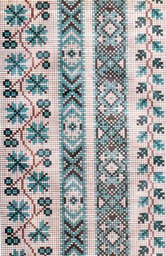 Cross Stitch Borders, Cross Stitching, Cross Stitch Embroidery, Embroidery Patterns, Cross Stitch Patterns, Palestinian Embroidery, Hungarian Embroidery, Bead Loom Patterns, Embroidery Techniques