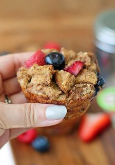 These Berry French Toast Muffins are an easy, tasty treat, perfect for breakfast or brunch! Just 96 calories or 3 Weight Watchers SmartPoints each!