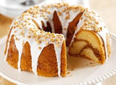 """Brickle Toffee Bundt Cake - It's more a coffee cake taste with a """"cake-like"""" texture. Sweet Recipes, Cake Recipes, Dessert Recipes, Sweet Desserts, Yummy Recipes, Delicious Desserts, Yummy Food, Bunt Cakes, Cupcake Cakes"""