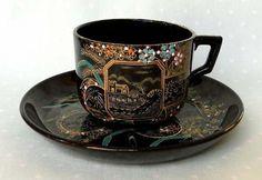 antigua taza de te terracota inglesa pintada a mano oro