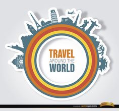 "You can use this cool design as a logo for travel and tourism agencies since it has a message of ""travel around the world"" inside some colored circles representing diversity, and there are many world landmarks around like Taj Mahal, Statue of Liberty, Pyramids, Eiffel Tower, among others. Under Commons 4.0. Attribution License."