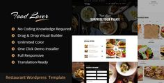 Food Lover Restaurant WordPress Theme by egprojets Food Lover Restaurant Wordpress Template is modern and creative responsive theme, It is perfect for any Restaurant, a small Restau