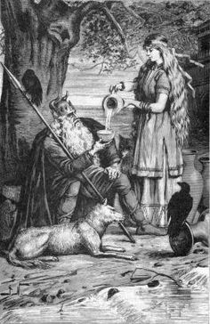 """Sága pours Odin a drink in an illustration (1893) by Jenny Nyström.    Little is known of Sága except that she lived in the great hall known as Sokkvabekk, where she often spent the day drinking from golden goblets with Odin. Some scholars suggest that Sága was another name for  Frigg, Odin's wife, for Sága means """"she who knows all things"""" and this was a trait Frigg shared with her husband."""