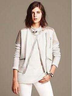 Suede Moto Sweater Jacket