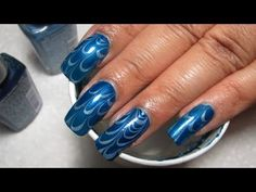 Blue & Blue Water Marble Nail Art Tutorial (Water Marble March #5)
