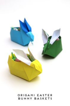 ORIGAMI EASTER BUNNY BASKETS.