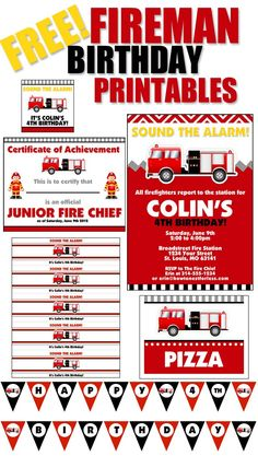 FREE FIREMAN BIRTHDAY PRINTABLES. Invite, water bottle labels, food cards, favor bag tags, certificates and more!