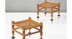 Jørgen Roed Pair of stools, circa 1840 Birch, painted birch, cane. Each: 43.4 x 48 x 48 cm (17 1/8 x 18 7/8 x 18 7/8 in.)