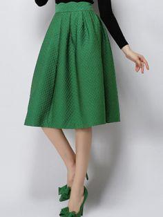 Green High Waist Plaid Skirt