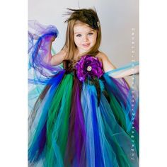 Flower Girl Tutu Dress in Couture Peacock found on Polyvore