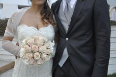 Matrimoni in spiaggia 2015. Bouquet di rose, rosa pallido