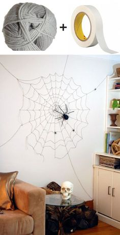 Check out this spider and cobweb Halloween décor. It may look complicated at first but it's actually very easy to create. All you need is a masking tape and a piece of yarn to work with and of course a creepy black spider toy to complete the illusion.