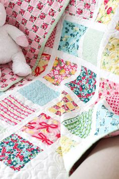 Lattice Baby Quilt Tutorial featuring Lindsay Wilkes' Dainty Darling fabric collection.