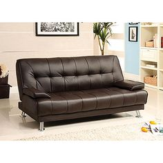 Furniture Of America Wasilla Brown Leatherette Futon Sofa Er And Faster Delivery