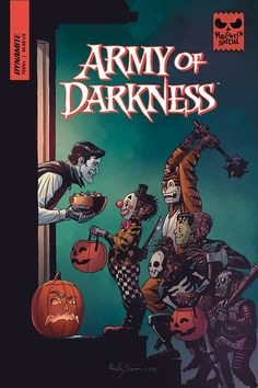 """brokehorrorfan: """"Dynamite Entertainment will release Halloween-themed comic books for five of its most popular titles - Army of Darkness, Elvira, Bettie Page, Vampirella, and Red Sonja - in. Retro Horror, Vintage Horror, Halloween Kostüm, Vintage Halloween, Comic Art, Comic Books, Halloween Wallpaper Iphone, Horror Movie Posters, Red Sonja"""