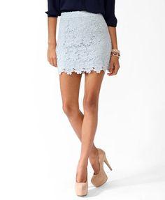 Scalloped Lace Miniskirt