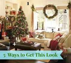 DIY Christmas Decorations | Wanna get the Pottery Barn look for less? Check out links to five DIY tutorials to help you get the look of this lovely Christmas family room!