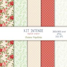 Kit de papéis digitais Intense - Charme Papeteria #intense #kitdepapéis #charmepapeteria #papeldigital, #digital, #floral vermelho