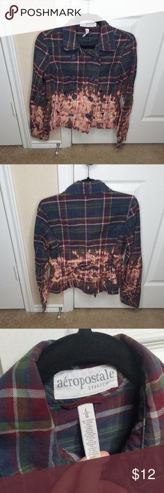 Aeropostale Bleached Plaid Pea Coat Jacket Aeropostale faded bleached dark plaid pea coat jacket. Size small. Aeropostale Jackets & Coats Pea Coats