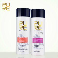 PURC 12% formalin keratin hair treatment and purifying shampoo hair care products set 2016 Brazilian keratin free shipping