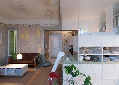 Karin Matz leaves unfinished plaster walls in Stockholm apartment