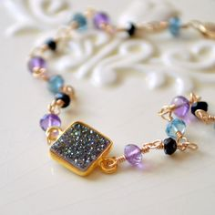 NEW Druzy Bracelet Peacock Colors Gold Filled by livjewellery, $78.00 https://www.etsy.com/listing/188725259/new-druzy-bracelet-peacock-colors-gold?ref=shop_home_active_4