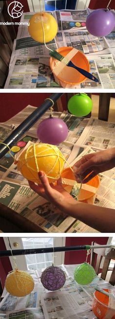 Yarn ball tutorial. Great tip if you only have one set of hands. Use her paint brush idea for doing it alone