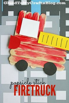 Kids Safety Popsicle Stick Firetruck - Kid Craft - Do you have an aspiring firefighter in your home? Check out our Popsicle Stick Firetruck - Kid Craft tutorial and recreate it with them today! Daycare Crafts, Classroom Crafts, Easy Crafts For Kids, Toddler Crafts, Preschool Crafts, Popsicle Crafts, Glue Crafts, Craft Stick Crafts, Craft Sticks