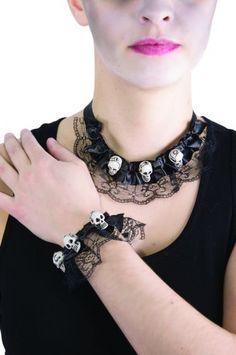 Collar y pulsera encaje con calavera Halloween