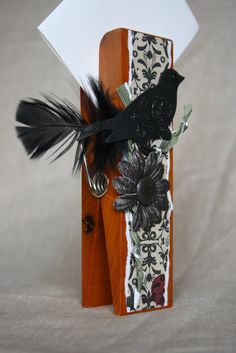 Black bird on a branch Extra Large Clothespin Photo/Note Holder