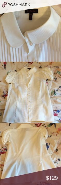 """ESCADA button down shirt puff sleeves Perfect for summer. Button does shirt, puffed sleeves w/elastic to hold in, 26"""" length, 36"""" chest, 34"""" waist. Mint condition. Size 36 in Escada Escada Tops Blouses"""