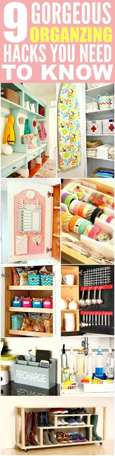 These 9 home organization projects are THE BEST! I'm so glad I found these GREAT tips! Now I have some great ways to keep my place tidy! Definitely pinning for later!