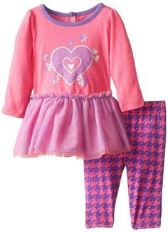 YOUNG HEARTS Baby Girls Long Sleeve Heart Tunic Hounds Tooth Legging Set Pink Violet