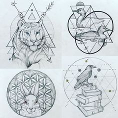 "Sacred geometry new year spirit animals--around 4""x5""; $150 each ✨for tattoo appointments contact through heatherhaedalkim@gmail.com✨ #twincitytattoo #sacredgeometrytattoo #newyeartattoo"