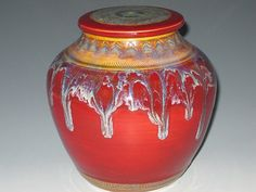 Urn Lidded Vase Jar in Royal Waterfall by earthtoartceramics, $98.00