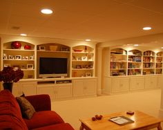 like the built ins for tv area   Traditional Basement Small Basement Remodeling Ideas Design, Pictures, Remodel, Decor and Ideas - page 11