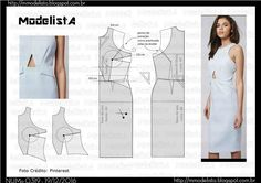 ModelistA: NUM 0319 DRESS Cute style lines; Just fill in open triangle Diy Clothing, Sewing Clothes, Clothing Patterns, Dress Patterns, Fashion Sewing, Diy Fashion, Ideias Fashion, Costura Fashion, Modelista