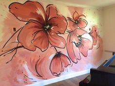modern poppy floral mural by Meme Hill Studio Ceiling Murals, Mural Wall Art, Mural Painting, Wood Wall Art, Interior Wallpaper, Wall Wallpaper, Garden Mural, Handmade Tiles, Kitchen Wall Art