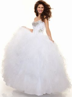 Ball Gown Ruffle Skirt Organza Long Prom Dress Formal Dress/ Quinceanra Dress Parai 93037