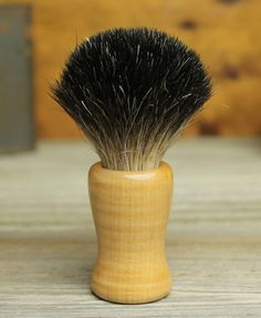 Maple Pedestal style shaving brush with Pure Black Badger by Bare Knuckle Barbery