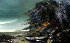 """""""Scraps Of The Untainted Sky"""": The Epic Dystopian Artworks By Daniel Dociu Environment Concept Art, Environment Design, Science Fiction, Teacher Picture, Alien Concept Art, Guild Wars, Fantasy Landscape, Fantastic Art, Awesome"""