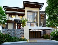 Ale Private House Design - Tangerang, Banten- Quality house design of architectural services, experienced professional Bali Villa Tropical designs from Emporio Architect. Modern Architecture House, Architecture Design, Style Villa, Modern Tropical House, Asian House, Modern Villa Design, House Front Design, Architect House, Modern House Plans